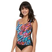 Women's Trimshaper Debbie Tummy Slimmer Ruched One-Piece Swimsuit