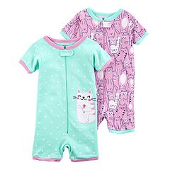Baby Girl 2-pack Kitty Cat Rompers