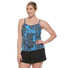 Plus Size Trimshaper Farrah Tummy Slimming Swim Romper