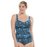 Plus Size Trimshaper Averi Tummy Slimming Crossover One-Piece Swimsuit
