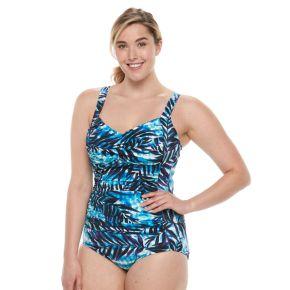 Plus Size Trimshaper Averi Tummy Slimming Crossover One-Piece Swimsuit