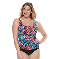 Plus Size Trimshaper Debbie Tummy Slimmer Ruched One-Piece Swimsuit