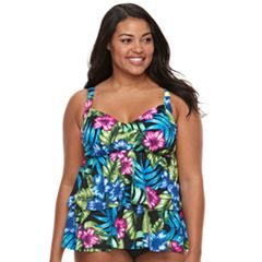 Plus Size Trimshaper Rylee Bust Enhancer Tiered Tankini Top