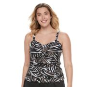 Plus Size Trimshaper Brandy Bust Enhancer Knot-Front Tankini Top