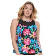 Plus Size Trimshaper Olivia Bust Enhancer High-Neck Tankini Top