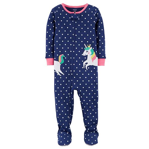 5bb89fe2b Toddler Girl Carter s Unicorn Dotted Footed Pajamas