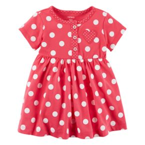 Baby Girl Carter's Heart Patch Polka-Dot Dress