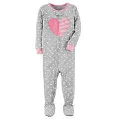 Toddler Girl Carter's Heart Dotted Footed Pajamas