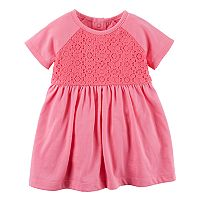 Baby Girl Carter's Crochet Yoke Pink Knit Dress