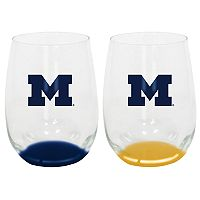 Michigan Wolverines 2-Pack Stemless Wine Glass Set