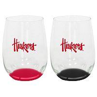 Nebraska Cornhuskers 2-Pack Stemless Wine Glass Set
