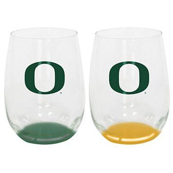 Oregon Ducks 2-Pack Stemless Wine Glass Set