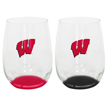Wisconsin Badgers 2-Pack Stemless Wine Glass Set