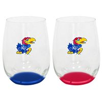 Kansas Jayhawks 2-Pack Stemless Wine Glass Set