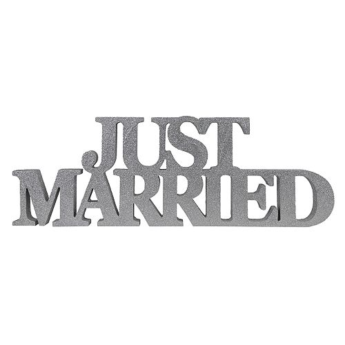 """Sheffield Home """"Just Married"""" Block Letter Table Decor"""