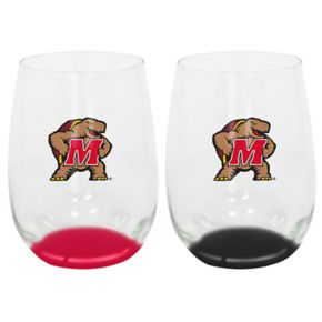Maryland Terrapins 2-Pack Stemless Wine Glass Set