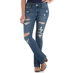 Juniors' Amethyst Destructed Baby Bootcut Jeans