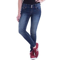 Juniors' Amethyst Double Button Skinny Jeans