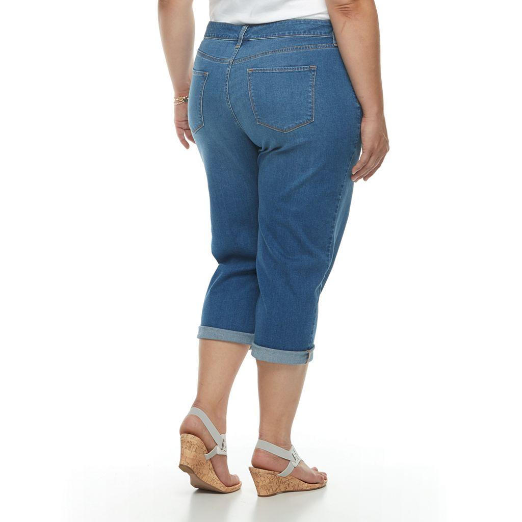 Plus Size Croft & Barrow® Cuffed Crop Jeans