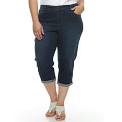 Plus Size Croft & Barrow® Cuffed Crop Jeans