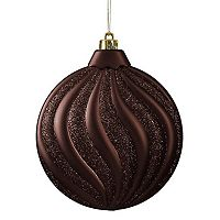 Shatterproof Round Swirl Christmas Ornament 6 pc Set