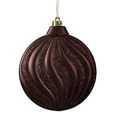 Shatterproof Round Swirl Christmas Ornament 6-piece Set