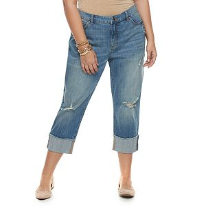 bba21de2473 Regular.  56.00. Plus Size Jennifer Lopez Ripped Boyfriend Jeans