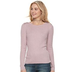Juniors' Pink Republic Lace-Up Shoulder Ribbed Sweater