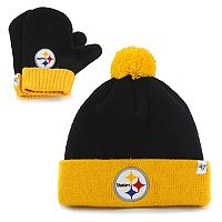 Toddler '47 Brand Pittsburgh Steelers Bam Bam Beanie & Mittens Set