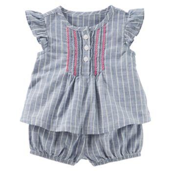 Baby Girl OshKosh B'gosh® Pinstripe Chambray Top with Bloomers