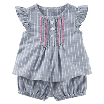 Baby Girl OshKosh B'gosh® Pinstripe Chambray Top with Bloomers