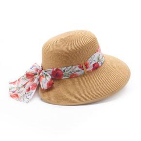 Women's Dana Buchman Backless Floppy Hat with Floral Scarf