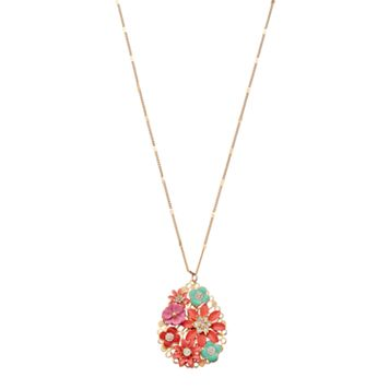 LC Lauren Conrad Long Flower Cluster Teardrop Pendant Necklace