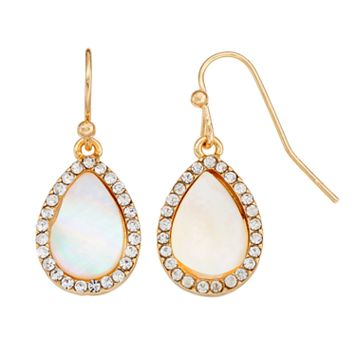 LC Lauren Conrad Mother-of-Pearl Halo Teardrop Earrings