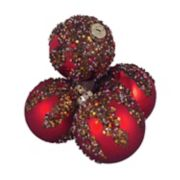 Shatterproof Beaded Sequin Christmas Ornament 4-piece Set