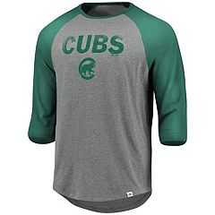 Men's Majestic Chicago Cubs Colorblock Raglan Tee