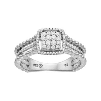 Sterling Silver 1/4 Carat T.W. Diamond Cushion Halo Ring