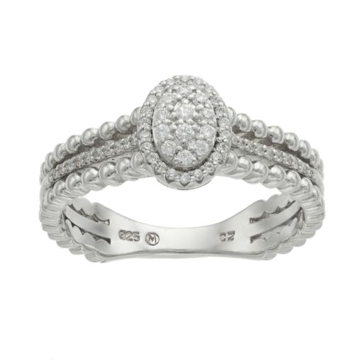 Sterling Silver 1/5 Carat T.W. Diamond Oval Halo Ring