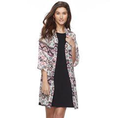 Juniors' Wallflower Print Kimono & Swing Dress Set