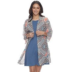 Juniors' Wallflower Print Kimono & Swing Dress Set