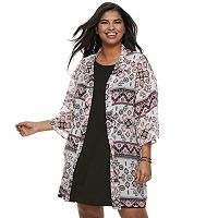 Juniors' Plus Size Wallflower Print Kimono & Swing Dress Set