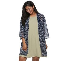 Juniors' Plus Size Wallflower Print Kimono & Swing Dress Set