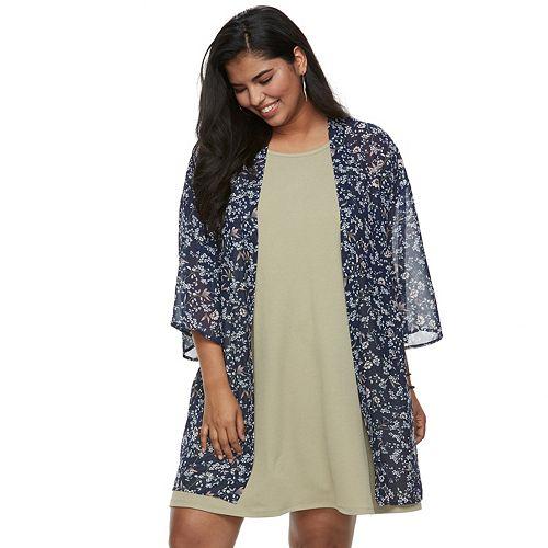 413dff5a80f Juniors  Plus Size WallFlower Print Kimono   Swing Dress Set