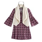 Girls 7-16 My Michelle Faux-Fur Vest & Bell Sleeve Dress Set with Necklace