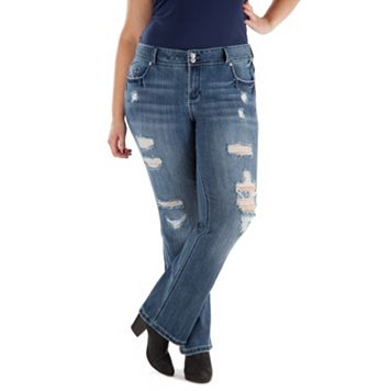 Juniors' Plus Size Amethyst Ripped Baby Bootcut Jeans