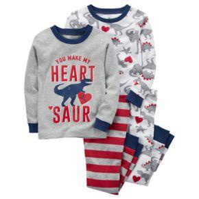 "Toddler Boy Carter's 4-pc. Dinosaur ""You Make My Heart Saur"" Pajamas Set"