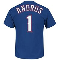 Men's Majestic Texas Rangers Elvis Andrus Name and Number Tee