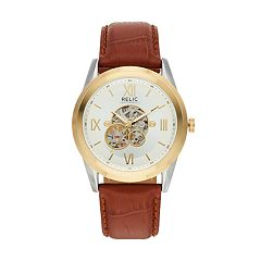 Relic Men's Blaine Leather Automatic Skeleton Watch - ZR77280