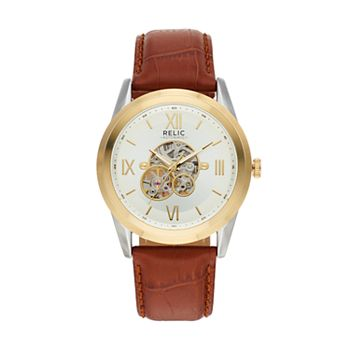 Relic Mens Blaine Leather Automatic Skeleton Watch Zr77280