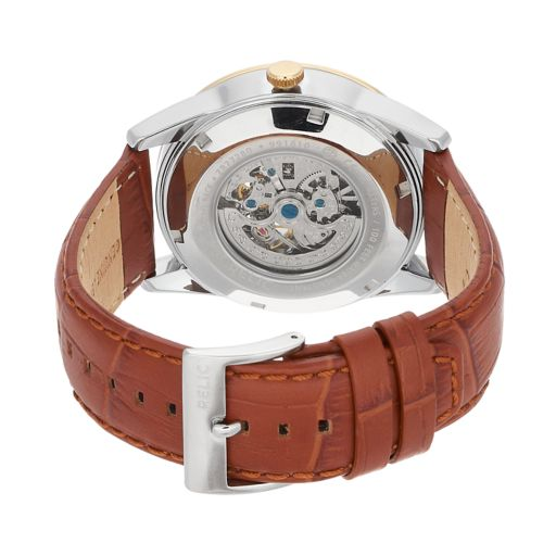 Relic Men's Blaine Leather Automatic Skeleton Watch - ZR77280